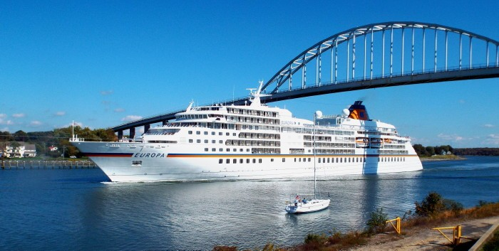 Europa Cruise Ship with the bridge directly behind it