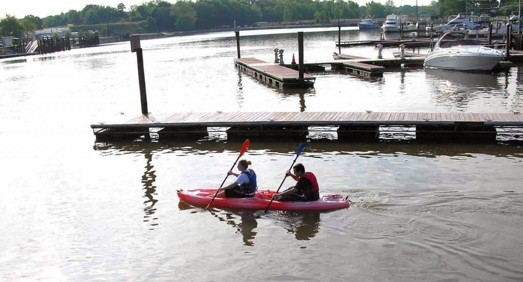 Cople kayaking in the Chesapeake City marina