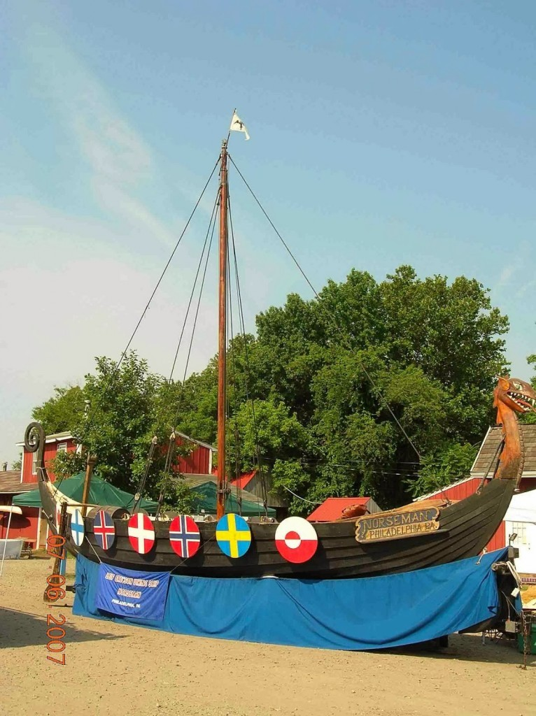 Viking long boat float for parade