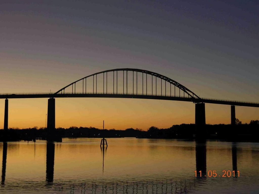 Bridge with a golden yellow sunset