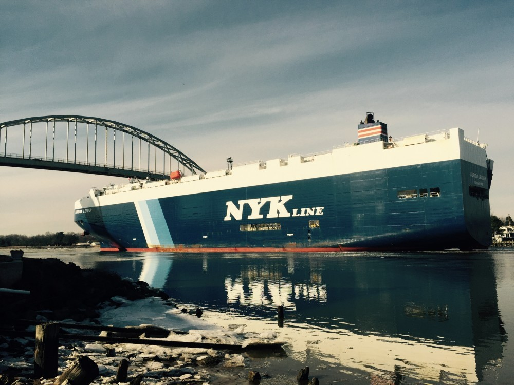 NYK Line ship after it just went under the bridge