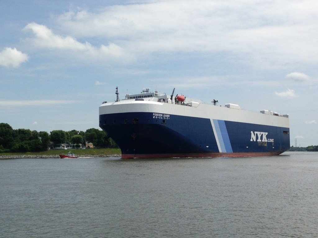 Large NYK Line commercial ship named Poseidon Leader
