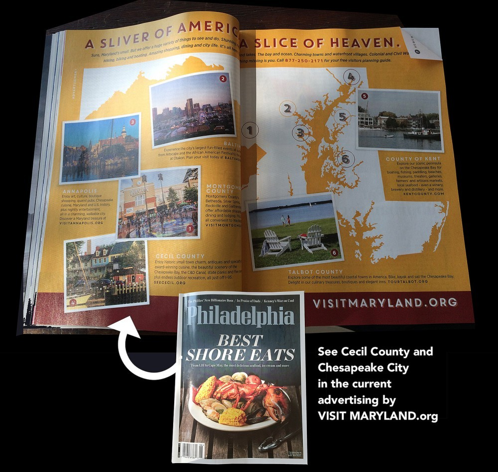 Spread of Philadelphia magazine showing Chesapeake City as a destination spot in Maryland