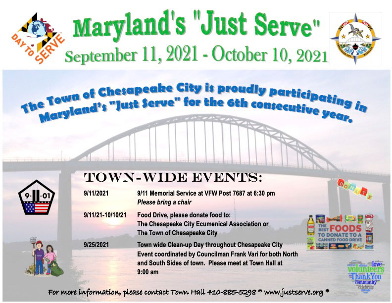 """The Town of Chesapeake City is proudly participating in Maryland's """"Just Serve"""" for the 6th consecutive year"""